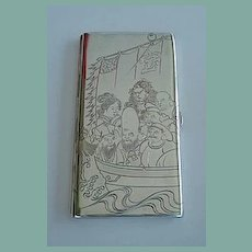 Rare Antique Sterling JAPANESE Cigarette Case 6+Inches Engraved 7 Immortals Fortune Gods Boat Billfold Wallet