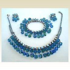 Unique Spectacular Vintage 3 Pc. Demi Parure Set Rhinestones DANGLING Art Glass Beads Blues Greens