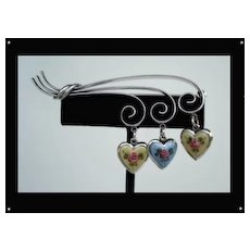 Special Vintage Sterling Silver Brooch with Guilloche Dangling Hearts from Curled Ribbons Signed