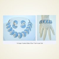 Fabulous 3 Pc. Vintage Set Baby Blue Thermoset & Silver Bracelet Necklace & Earrings