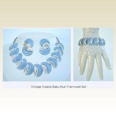 Fabulous 3 Pc. Vintage Set Baby Blue Thermoset & Silver Bracelet Necklace & Earrings