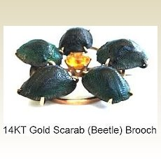 Rare Victorian Gold Scarab 5 Beetle Brooch Pin