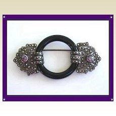 Premier Art Deco Sterling Silver Marcasite & Genuine Amethyst Gemstones Brooch Pin