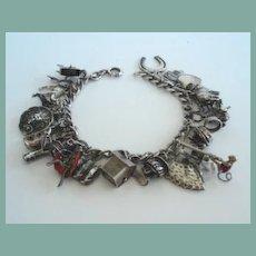 1940's Sterling Silver Charm Bracelet 25 CHARMS Many Unusual & Many Mechanical Rare Pole Climber