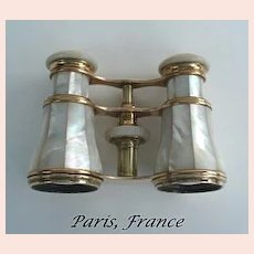 Vintage Late 1800's French Mother of Pearl & Brass Opera Glasses Paris Hallmarked Le Maire FI