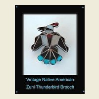 Vintage Native American Zuni Thunderbird Brooch Pin Multiple Stone Inlay Turquoise Coral Jet Sterling