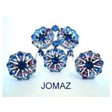 UNUSUAL Jomaz Joseph Mazer Set Demi Iris Rhinestones Rhodium Brooch & Earrings