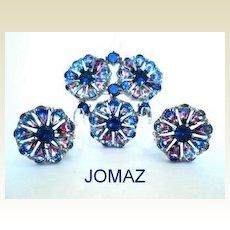 UNUSUAL Jomaz Joseph Mazer Set Demi Iris Rhinestones Rhodium Brooch & Earrings