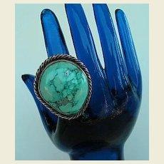 Vintage Native American HUGE Turquoise Ring Sterling Silver Navajo