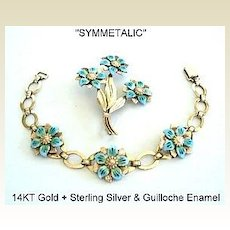 RARE Symmetalic SET 14KT Gold & Sterling Silver Blue Guilloche Flowers Bracelet and Brooch