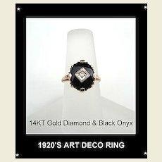 Vintage 1920's 14KT Gold Art Deco Diamond & Black Onyx Ring Hallmarked