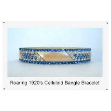UNUSUAL 1920's Flapper Art Deco Ivory Celluloid Bangle Bracelet 6-Rows Sapphire & Clear Rhinestones