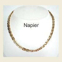 Vintage Designer Signed Napier Chunky Link Quality Gold Tone Choker Necklace