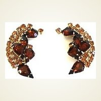 Large Vintage Smoked & Honey Topaz Rhinestone Climber Earrings Gold Tone