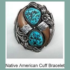 Magnificent Large Ornate Vintage Native American Cuff Bracelet Turquoise Multiple Overlays Sterling Signed