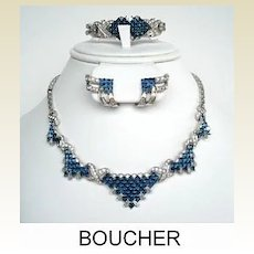 Vintage Designer Signed Boucher Set Necklace Bracelet & Earrings Sapphire Rhinestones Scrumptious Checkerboard Design