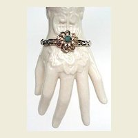 Vintage Bracelet Lush Blooming Flower with Emerald Green Rhinestone Chunky Gold Plated Snake Chain