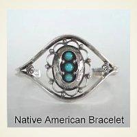 Feminine Vintage Native American Navajo Bracelet Shadow Box Lace-Like Design Sterling Silver Turquoise