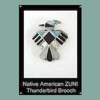 Vintage Native American Zuni Thunderbird Brooch Pin Mosaic & Channel Inlay Multiple Stones Sterling