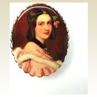 Vintage Victorian Revival Portrait Brooch Pin Scallop Edge Frame