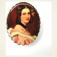 Vintage Victorian Revival Portrait Brooch Pin Scallop Edge Frame