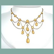 Antique Edwardian 14KT Gold Citrine & Pearl Festoon Necklace Hallmarked