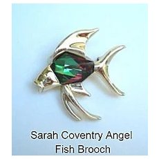 Vintage Sarah Coventry Brooch Tropicana Chinese Fish Figural Pin Huge Watermelon Glass Belly Stone