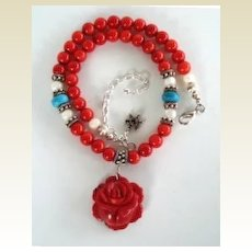 Stunning Artisan Choker Necklace Hand Carved Coral Rose Pendant Turquoise & MOP Beads Sterling Silver