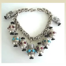Artisan Sterling Silver Chinese Style Lanterns Charm Bracelet Amethyst & Turquoise Byzantine