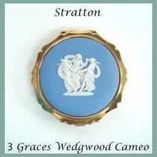 Rare Vintage STRATTON England Compact Three 3 GRACES Josiah Wedgwood White Cameo Blue Jasperware