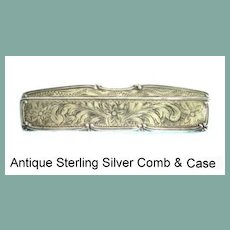 Antique Victorian Sterling Silver Engraved Comb & Case Tortoise Shell Comb and Repousse Detailing