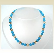 Stunning Sleeping Beauty Turquoise & Gold Filled Choker Necklace with Free Extender Chain