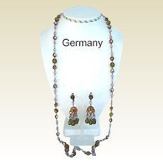 Enchanting Vintage Germany AB Crystal Set Long Necklace and Chandelier Dangle Earrings