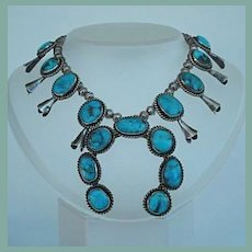 Striking Vintage 1950's Native American Navajo Squash Blossom Choker Necklace Turquoise Sterling Silver