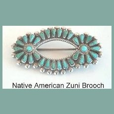 Exquisite Vintage 1950's Native American Zuni Brooch Pin Finely Set Petite Point Turquoise Sterling