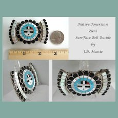 Vintage Native American Zuni Sterling Belt Buckle Sun Face Multiple Stone Inlay Signed JD Massie