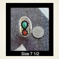 Large Vintage Native American Turquoise & Coral Shadowbox Ring Sterling