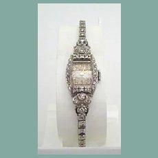 Retro Vintage Bulova 14K White Gold Watch 1 Carat of Diamonds