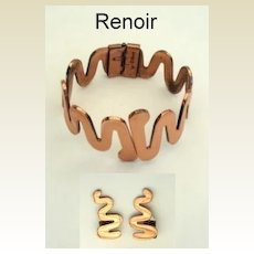 Rare Vintage Renoir Copper Cleopatra Bracelet Earring Set Signed