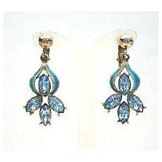 Beautiful Vintage Light Blue Rhinestone Dangle Earrings with Blue Turquoise Enamel