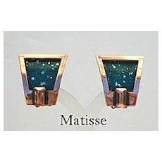 Vintage Signed Matisse Art Deco Style Earrings Blue Green Enamel Copper