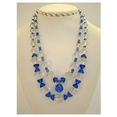 Premier Vintage Austrian Crystal Necklace COBALT Blue & Clear Double Strand Hour Glass Shapes