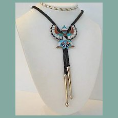 Vintage Native American Navajo Bolo Tie Eagle Dancer Sterling Silver Multiple Stone Inlay