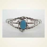 Vintage 1940's Native American Navajo Tourist Style Bracelet Turquoise Sterling Signed Hand-Stampings