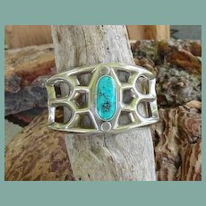 Vintage Native American Sterling Turquoise Cuff Bracelet