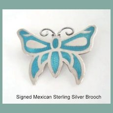 Wonderful Vintage Mexican Sterling Silver Butterfly Brooch Turquoise Color Enamel Inlay on Necklace Chain