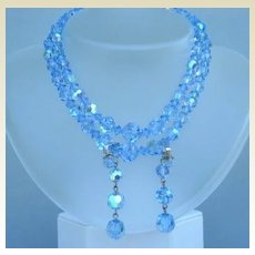 Enchanting Vintage Sapphire Blue Aurora AB Crystal Set Double Strand Choker Dangle Earrings