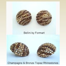 Vintage Signed BELLINI New York Large GLITZ Earrings Champagne & Bronze Rhinestones
