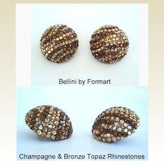 Vintage Signed BELLINI New York Large GLITZ Earrings Champagne & Bronze Rhinestones
