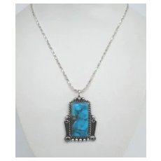 Striking Vintage Native American Navajo Sterling Silver Pendant Necklace Signed Turquoise with Overlays